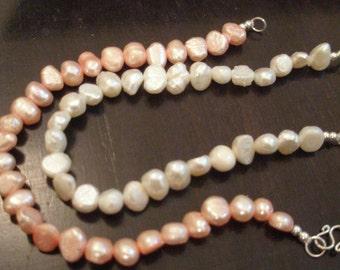 pearl bracelet - white or pink