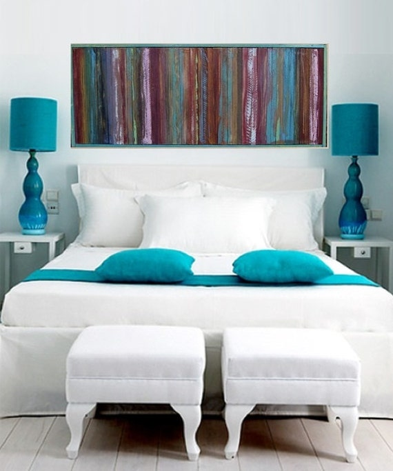 Items similar to reclaimed wood headboard modern painted for Painted on headboard