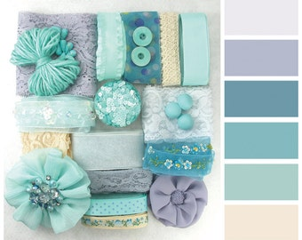 Turquoise Macaroon Color Palette Craft Pack|DIY Supply|Ribbon|Trimmings|Set|Scrapbook materials|Scrapbooking