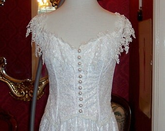 size 16  4 piece wedding dress boned lace top with over shoulder sleeves,elasticated long length skirt,