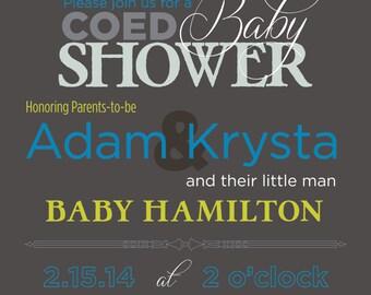 Baby boy shower invitation - Co-ed optional - Modern Baby Shower Invitation - Gray and Blue Baby Shower