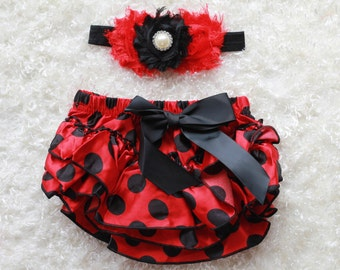 red black dot baby Girl headband and Ruffle Bum Baby Bloomer,red black Diaper Cover, Ruffle Bum, Newborn Headband Set - Photo Prop