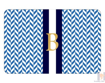 Navy, blue and gold monogrammed herringbone serving tray. A unique and stylish hostess, wedding or birthday gift!! Entertain with style!