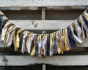 Rustic Modern Rag Garland, Burlap and Fabric Garland, Fabric Banner, Backdrop Garland, Rag Tie Garland, Rustic Wedding Garland,