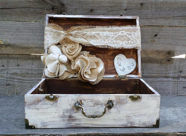 rustic wedding card box personalized box shabby chic box. Black Bedroom Furniture Sets. Home Design Ideas