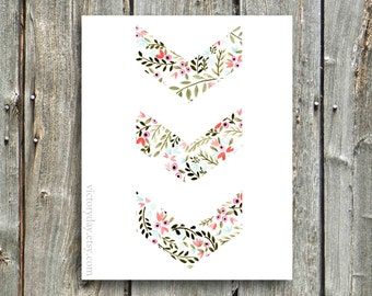 Chevron Watercolor Print: Available in Floral, Coral, and Sea Blue
