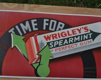 Original 1930's TIme For Wrigley's Gum Cardboard Sign - Vintage Trolley/Bus Card