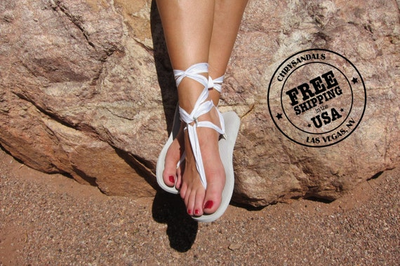 White Lace Sandals White Lace up Sandal-free