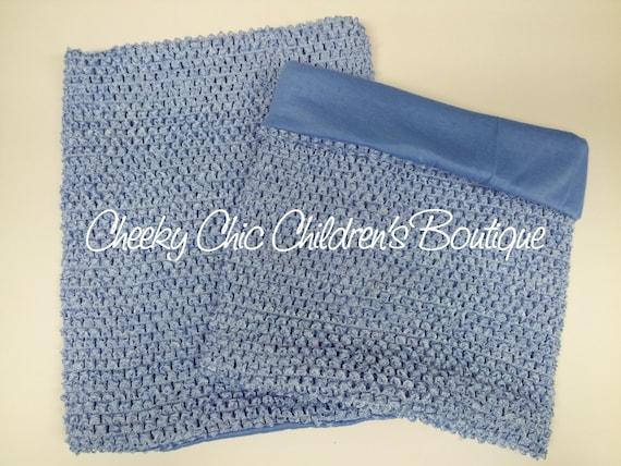 LINED 10x9 inch LIGHT Blue Crochet Tutu Dress Tube Top [LCB10LTBL]