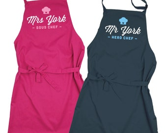 Personalised Head Chef and Sous Chef Apron Set - choice of colours!