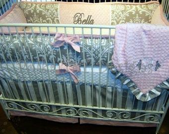 Pink and Gray Crib Set