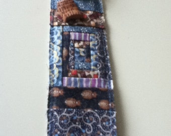 Quilt Block, Bookmark, Quilted Bookmark, Log Cabin