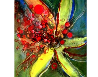 Flower ART ,Mixed Media abstract painting/ink/paste/acrylic,contemporary wall art