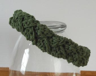 Crochet Braid Headband, Womens Teens Headband, Soft Forest Olive Green, Winter Ski