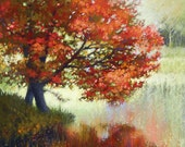 Landscape Painting Print. Yarmouth, Maine. Autumn in Maine. Free Shipping! Red Maple Tree Pond October From Original Oil Painting Maine Fun!