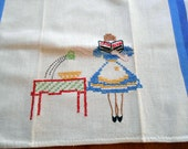 Oops! 1940's Hand Embroidered Linen Towel