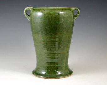 """Art and Crafts Style Urn, flower vase or utility holder in Frog glaze (146) will bring beauty to your home. 8.75""""H x 7.25"""" at widest point"""