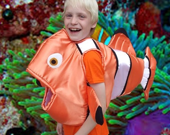 Nemo Fish Body Costume Satin covered foam body arm holes, fully lined