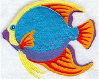 2 bath towels - Caribbean Tropical Fish - EMBROIDERED