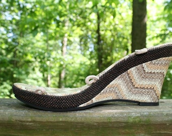 Basket print wedge sandals with plain lace - Customizable and Interchangeable
