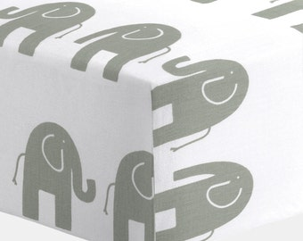 Boy Baby Bedding / Girl Baby Bedding / Neutral Baby Bedding : White and Gray Elephants Crib Sheet by Carousel Designs