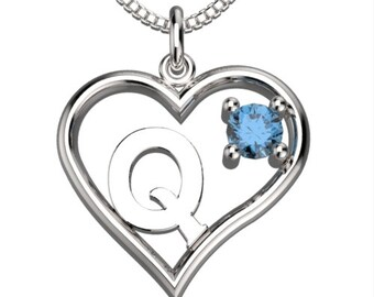 "BirthStone  Heart Letter Q Sterling Silver Pendant &18"" Necklace December Blue Zircon"
