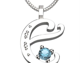 "BirthStone Letter E March Aquamarine 925 Solid Sterling Silver Pendant &18"" Necklace"
