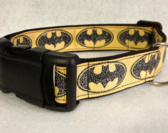 Yellow and Black Batman Dog Collar