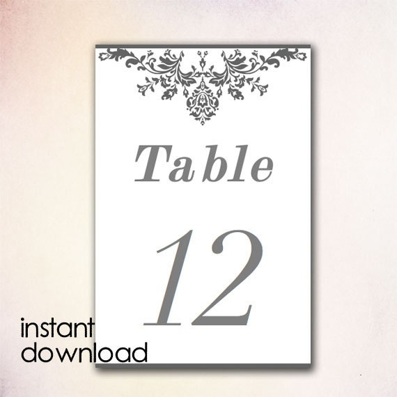 items similar to diy table numbers template instant download microsoft word version gray. Black Bedroom Furniture Sets. Home Design Ideas