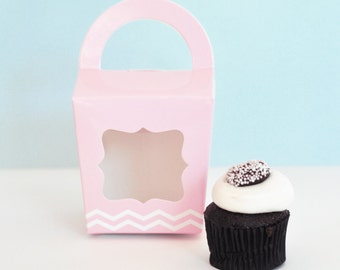 Wedding Pink Favor Box  - Baby Shower Favor Boxes Individual Cupcake Boxes Cupcake Favor Boxes Candy Buffet Favor Bags (EB2370) set of 12