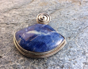 Blue Lapis Peruvian Stone Silver Pendant