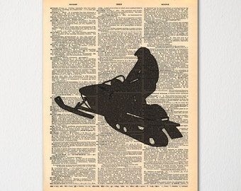 Snowmobiling Dictionary Art Print - Snowmobile Sketch / Hand Drawn and Printed on Dictionary Page