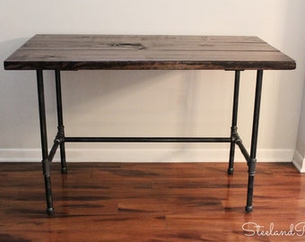 Steel and Wood Desk - Long