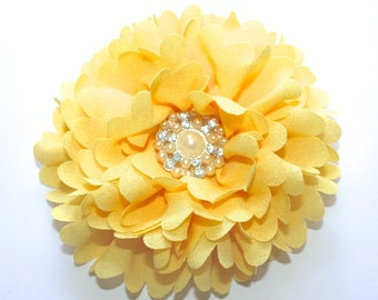 "3.5"" Yellow Peony With Rhinestone Pearl Center 1 Piece"