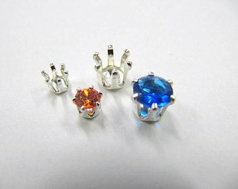 Snap-Tite Sterling Silver, 4mm, Round, 6 Prong, Gemstone Settings, CZ setting Wire Wrapping,