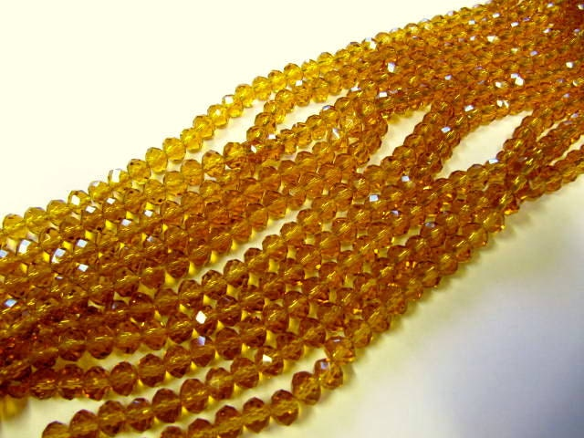 Rondelle Beads, Faceted Crystal Glass, 6mm, Baltic Amber, Spacer Beads, 50 Piece, Bead Sale, Jewelry Supply, Bead Supply