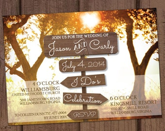 Country/Farm Wooden Signs Wedding Invitation