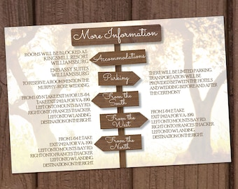 Country/Farm Wooden Signs Wedding Invitation Directions Card