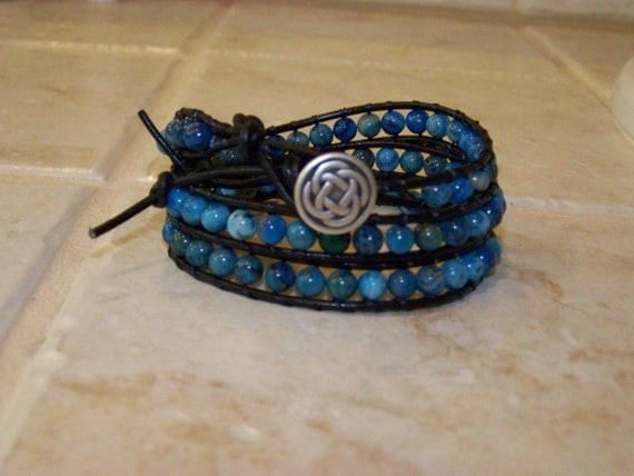 Dakote Blue Crazy Lace Agate Leather Wrap Bracelet