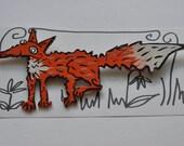 wooden brooch fox