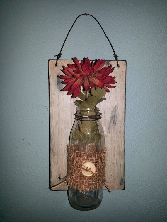 Wall Sconce Plant Holder : Items similar to Wood Home Decor, Wall Vase, Primitive Rustic Sconce, Flower or Plant Holder ...