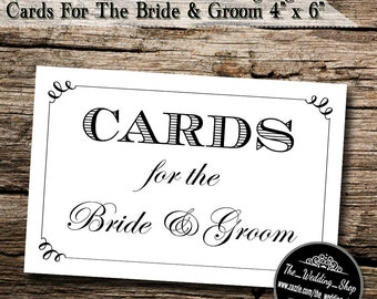 "Instant Download- 4"" x 6"" Printable JPEG Modern Style DIY White Wedding Sign: Cards For The Bride & Groom"