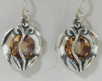 Handcrafted Champagne Stone 925 Sterling Silver Earrings