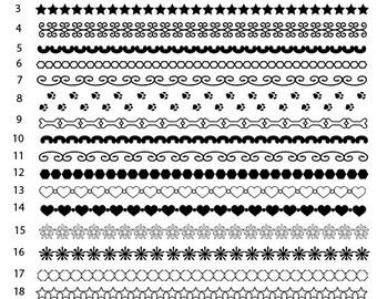 20 Edge Borders in black PNG files Digital Scrapbook
