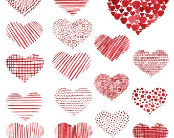Watercolor hand drawn hearts, Love clipart, scrapbooking, Personal and Commercial Use