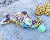 Metallic fish pendant,Enameled fish pendant,scaled fish pendant,golden summer pendant,fish necklace,golden fish pendant