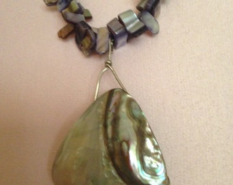 shell and glass necklace, 3 strand