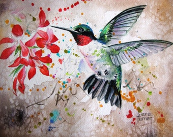 Print of Original Watercolor Painting, Hummingbird Limited Edition Giclee Art Print of a hummingbird,Wall Art Home Decor 11 x 14