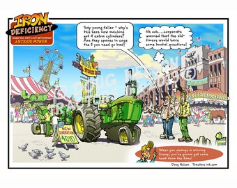 "8.5""x11"" Color Print of Iron Deficiency Cartoon. (ID2-Deere4010)"
