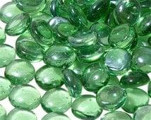 Glass Gems, Floral, Glass Beads, Transparent Blue, Clear, or Green,  5 oz.  Vase Filler, Solar Lantern Accessory